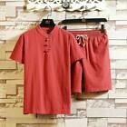 Men's Chinese style short-sleeved t-shirt large size cotton linen set suit new