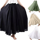 Women Bohemian Skirt Swing Elastic Waist Band Cotton Linen Long Maxi Dress US