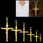 14k Real Yellow Gold Solid Jesus Crucifix Religious Cross Pendant image