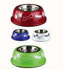 Dog Bowl Stainless Steel with Colored outer Small / Large sizes Food Water SALE