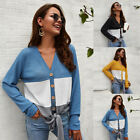 Women's Button Down Sweater Jumper Pullover Tie  Knitted  Tunic Blouse Tops