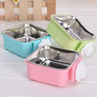2-in-1 Dog Pet Hanging Bowl Puppy Crate Cages Stainless Steel Feeder Food Water