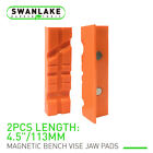 Pair Of Magnetic Soft Pad Jaws Rubber For Metal Vise 4.5