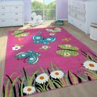 Kids Nursery Rug Girls Pink Butterfly Pattern Mat Childrens Bedroom Play Carpet