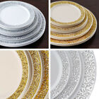 "Plastic 7.5"" ROUND PLATES with Lacy Trim Party Wedding Disposable TABLEWARE SALE"
