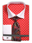 Men's Polka Dot Dress Shirt with French Cuffs and Neck Tie Handkerchief