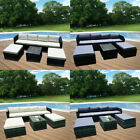 7 Piece Rattan Garden Furniture Set Sofa Table Stool Conservatory Grey Black Uk