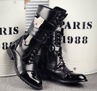 Punk Men's Leather Shoes British Cowboy Buckle Rock Round Toe Ankle Boot Ths01