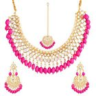 Indian Pakistani Choker Kundan Necklace Earrings Mang Tika for Wedding & Party