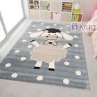 Kids Animal Rug Grey Beige Lamb Pattern Childrens Play Mat Baby Nursery Carpet
