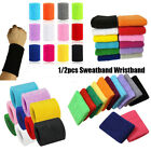 color Cotton Wrist Band Gym Sweat Wristband Sport Sweatband Tennis Hand Bands image