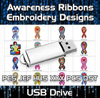 Awareness Ribbons PES JEF HUS XXX PCS DST Machine Embroidery Design files on USB