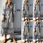 Summer Autumn Long Sleeve Boho Dress Women Elegant Loose V-neck Maxi Dresses New