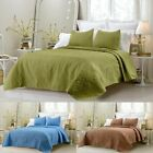 New Cotton Quilted 3pc Coverlet Sets - Blue, Sage Green and Chocolate Brown image