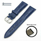 Blue Croco Quick Release Leather Replacement Watch Band Strap Steel Buckle #1043 image