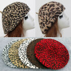 Vintage Rabbit Fur Leopard Print Beret Cap Women Winter Warm Beanie Artist Hat