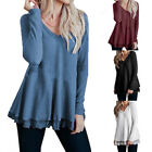Lace Casual V Neck Knit Long Sleeve Pullover Blouse Women's Tops Fashion Shirt