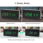 Electronic LED Desktop Clock Wooden Alarm Clock USB  3 Levels Brightness K7X6