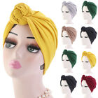 Women Stretch Cotton Turban Hat Top Knotted African Twisted Headwrap Chemo Cap