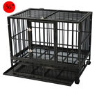 "Dog Crate Large Kennel Cage Heavy Duty Metal Playpen W/Wheels & Tray 36""/42""/48"""