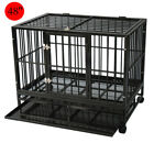 Dog Crate Large Kennel Cage Heavy Duty Metal Playpen W/Wheels & Tray 36'/42'/48'
