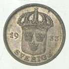 Roughly Size of Nickel - 1933 Sweden 50 Ore - World Silver Coin *081