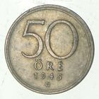Roughly Size of Nickel - 1945 Sweden 50 Ore - World Silver Coin *988
