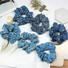Women Blue Denim Hair Rope Elastic Hair Ties Fashion Girls Scrunchie Ponytail