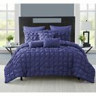 Solid Navy Blue Pleat Pintuck 8 pc Comforter Set Twin XL Full Queen King Bed image