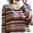 Women Soft Warm Stripe Pullover Sweater Winter V Neck Sweater Fashion Thin Knit