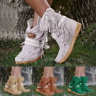 Ladies Sexy Fringe Middle Tassel Boots Fashion Buckle Motorcycle Flat Heel Boot