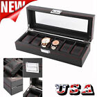 5/6/10/12 Slot Watch Box Carbon Fiber Case Jewelry Display Storage Collector image