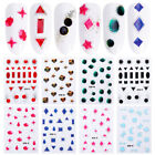 3D Nail Stickers Black Blue Gem Pattern Transfer Decals Nail Art Decoration Tips