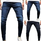 Fashion Mens Solid Color Slim Denim Jeans Streetwear Pants Casual Trousers New