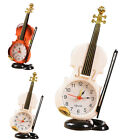 Modern Retro Violin Desk Clock Alarm Clock Stand Home Bedroom Decor Plastic