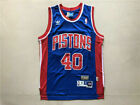 Detroit Pistons #40 Bill Laimbeer Retro Blue Basketball Jersey Size: S - XXL on eBay