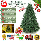 7FT Artificial Christmas Tree w/LED Light Hinged with Metal Stand Xmas Pine Tree