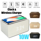 10W QI Alarm Wireless Charger Clock Digital LED Desk Thermometer For iPhone 11/X
