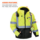 Hi Vis Insulated Safety Bomber Reflective Jacket ROAD WORK HIGH Visibility Lime