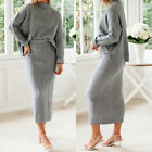Two Piece Set Women Turtleneck Dress Set Solid Color Knit Suit Sweater and Skirt