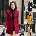 Women Double Breasted Wool Trench Coat Long Jacket Warm Overcoat Slim Outwear