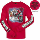 Harley Davidson Mens Biker Claus Long Sleeve T-Shirt Red Swansea Christmas 2019 £32.99 GBP on eBay