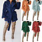 Women Faux Rabbit Fur Belt Oversized Coat Plush Thicken Parka Jacket Outwear New