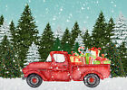 Pine Forest Backdrop Red Truck Christmas Gifts Background Photography Studio