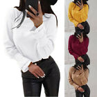 Women Long Sleeve Loose Blouse Crew Neck Tee Office T-Shirts Fashion Casual Tops