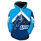 New Detroit Lions 3D Print Hoodie Men Sweatshirt Pullover Cosplay Jacket Coat $22.99 USD on eBay