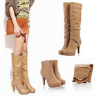 Women Leather Knee High Boots High Heels Stiletto Two  Way Wear Platform Shoes