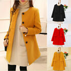 Women Loose A-line Long Sleeved O-neck Coats Spring Autumn Plus Size Wool Jacket