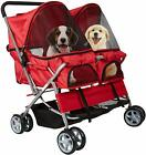 Pet Dog Stroller Folding Detachable Pet Carrier Double Doors for Entry Easy