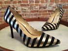 Katy Perry Black & Gold Metallic Stripe Sissy Pointed Toe Party Pumps New